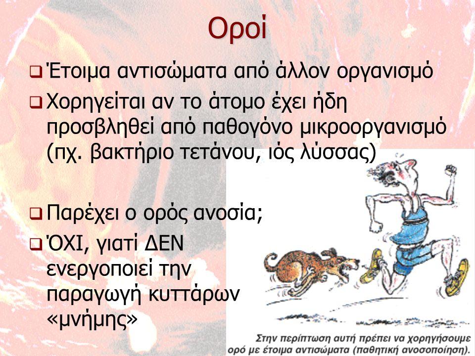 Οροί  Έτοιμα αντισώματα από άλλον οργανισμό  Χορηγείται αν το άτομο έχει ήδη προσβληθεί από παθογόνο μικροοργανισμό (πχ. βακτήριο τετάνου, ιός λύσσα