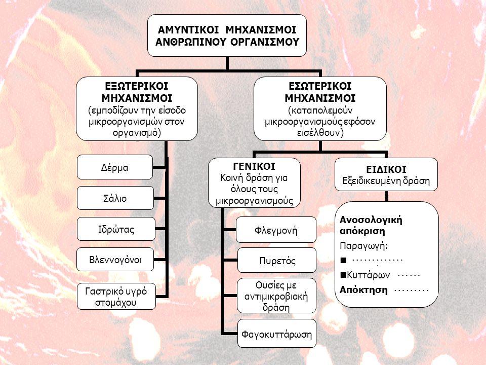 ΑΜΥΝΤΙΚΟΙ ΜΗΧΑΝΙΣΜΟΙ ΑΝΘΡΩΠΙΝΟΥ ΟΡΓΑΝΙΣΜΟΥ ΕΞΩΤΕΡΙΚΟΙ ΜΗΧΑΝΙΣΜΟΙ (εμποδίζουν την είσοδο μικροοργανισμών στον οργανισμό) Δέρμα Σάλιο Ιδρώτας Βλεννογόνοι Γαστρικό υγρό στομάχου ΕΣΩΤΕΡΙΚΟΙ ΜΗΧΑΝΙΣΜΟΙ (καταπολεμούν μικροοργανισμούς εφόσον εισέλθουν) ΓΕΝΙΚΟΙ Κοινή δράση για όλους τους μικροοργανισμούς Φλεγμονή Πυρετός Ουσίες με αντιμικροβιακή δράση Φαγοκυττάρωση ΕΙΔΙΚΟΙ Εξειδικευμένη δράση Ανοσολογική απόκριση Παραγωγή: Αντισωμάτων Κυττάρων μνήμης Απόκτηση ανοσίας …… ……… ………….