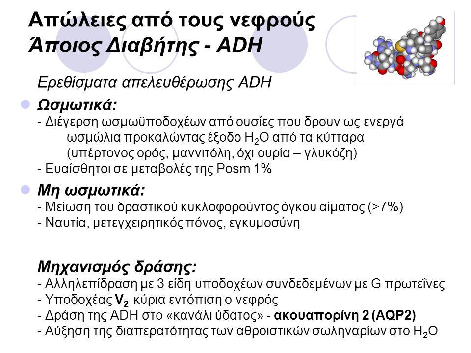 Απώλειες από τους νεφρούς Άποιος Διαβήτης - ADH Ερεθίσματα απελευθέρωσης ADH Ωσμωτικά: - Διέγερση ωσμωϋποδοχέων από ουσίες που δρουν ως ενεργά ωσμώλια