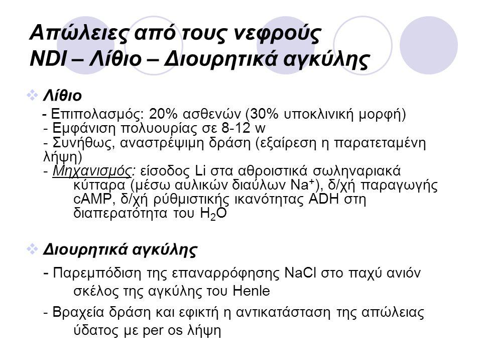 Απώλειες από τους νεφρούς NDI – Λίθιο – Διουρητικά αγκύλης  Λίθιο - Επιπολασμός: 20% ασθενών (30% υποκλινική μορφή) - Εμφάνιση πολυουρίας σε 8-12 w -