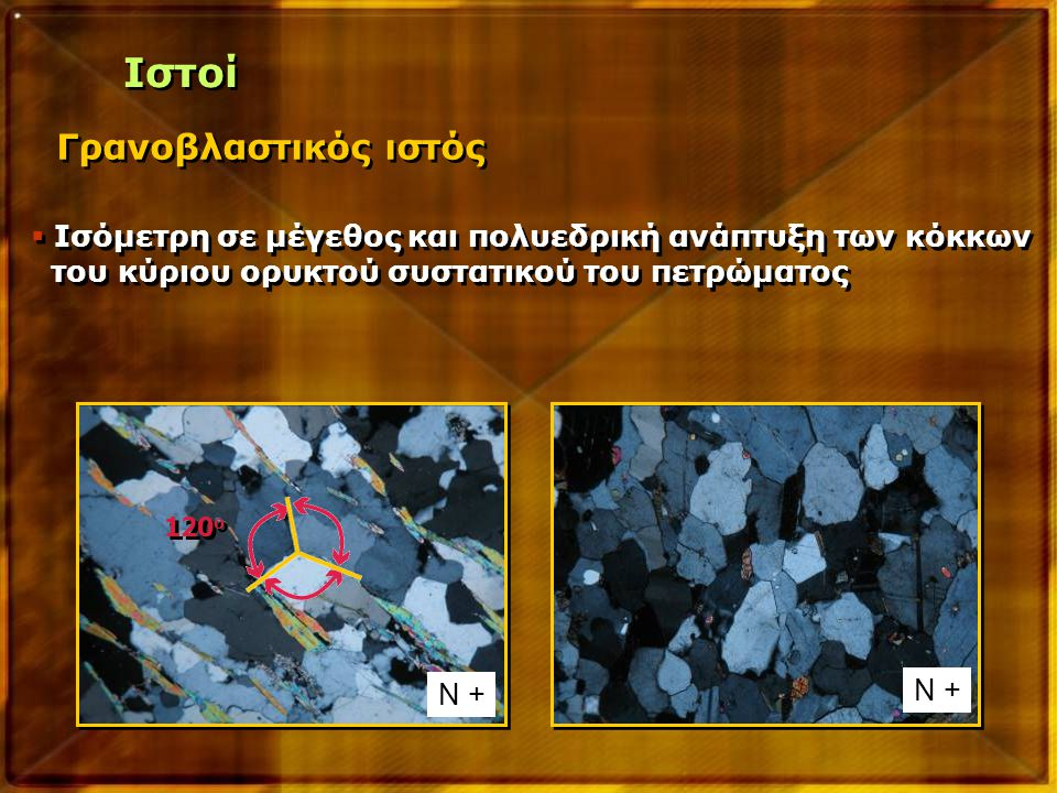 Γρανοβλαστικός ιστός  Ισόμετρη σε μέγεθος και πολυεδρική ανάπτυξη των κόκκων του κύριου ορυκτού συστατικού του πετρώματος  Ισόμετρη σε μέγεθος και π