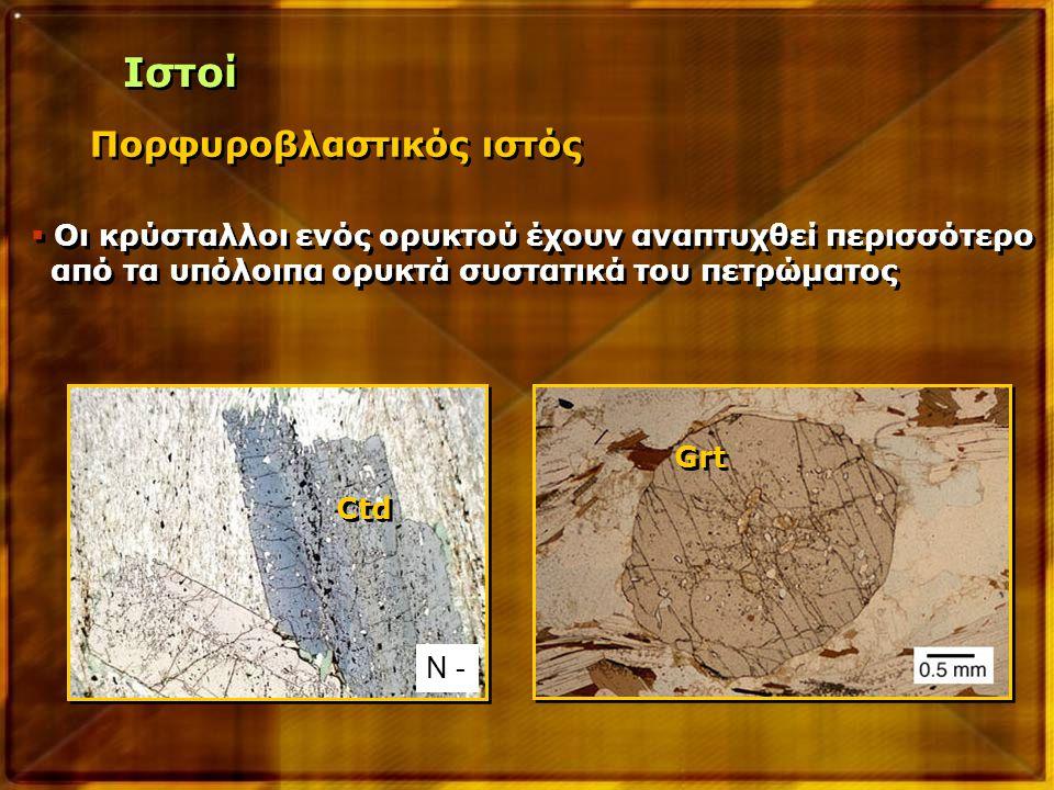 Πορφυροβλαστικός ιστός  Οι κρύσταλλοι ενός ορυκτού έχουν αναπτυχθεί περισσότερο από τα υπόλοιπα ορυκτά συστατικά του πετρώματος  Οι κρύσταλλοι ενός