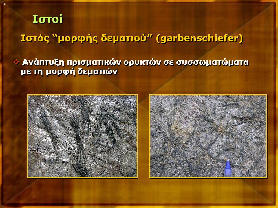 """Ιστός """"μορφής δεματιού"""" (garbenschiefer)  Ανάπτυξη πρισματικών ορυκτών σε συσσωματώματα με τη μορφή δεματιών  Ανάπτυξη πρισματικών ορυκτών σε συσσωμ"""
