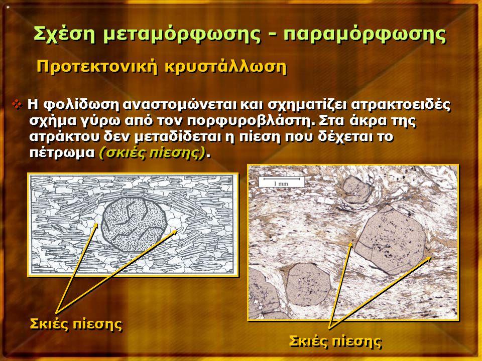 Προτεκτονική κρυστάλλωση Σχέση μεταμόρφωσης - παραμόρφωσης  Η φολίδωση αναστομώνεται και σχηματίζει ατρακτοειδές σχήμα γύρω από τον πορφυροβλάστη. Στ
