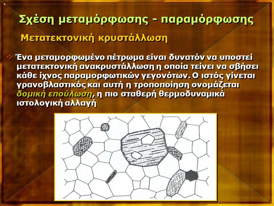 Μετατεκτονική κρυστάλλωση Σχέση μεταμόρφωσης - παραμόρφωσης  Ένα μεταμορφωμένο πέτρωμα είναι δυνατόν να υποστεί μετατεκτονική ανακρυστάλλωση η οποία