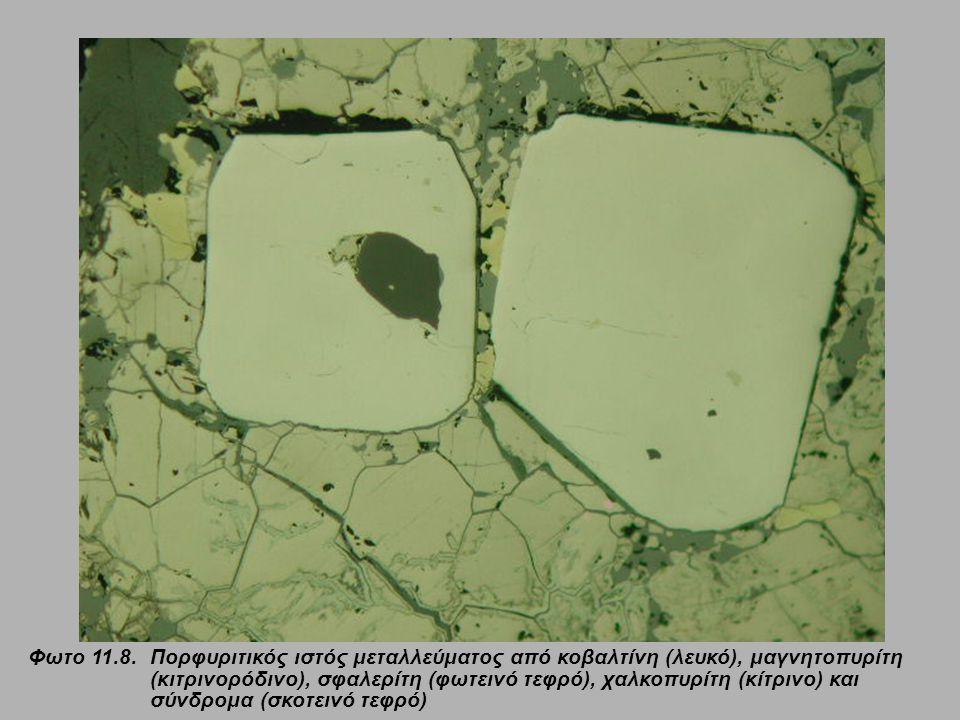 Φωτο 11.8.Πορφυριτικός ιστός μεταλλεύματος από κοβαλτίνη (λευκό), μαγνητοπυρίτη (κιτρινορόδινο), σφαλερίτη (φωτεινό τεφρό), χαλκοπυρίτη (κίτρινο) και σύνδρομα (σκοτεινό τεφρό)