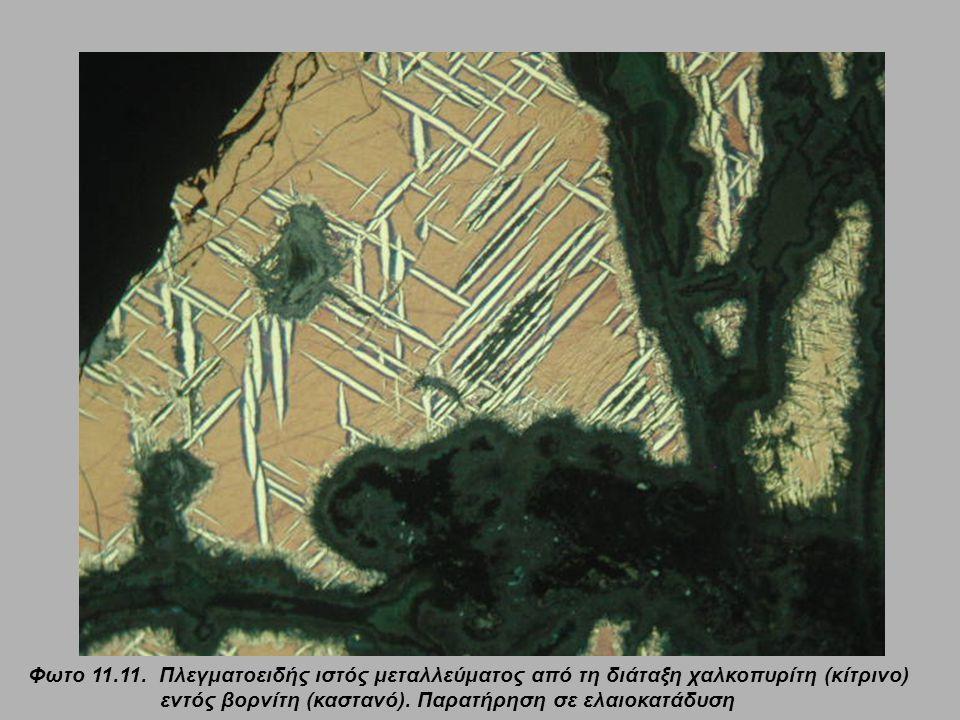 Φωτο 11.11.Πλεγματοειδής ιστός μεταλλεύματος από τη διάταξη χαλκοπυρίτη (κίτρινο) εντός βορνίτη (καστανό).