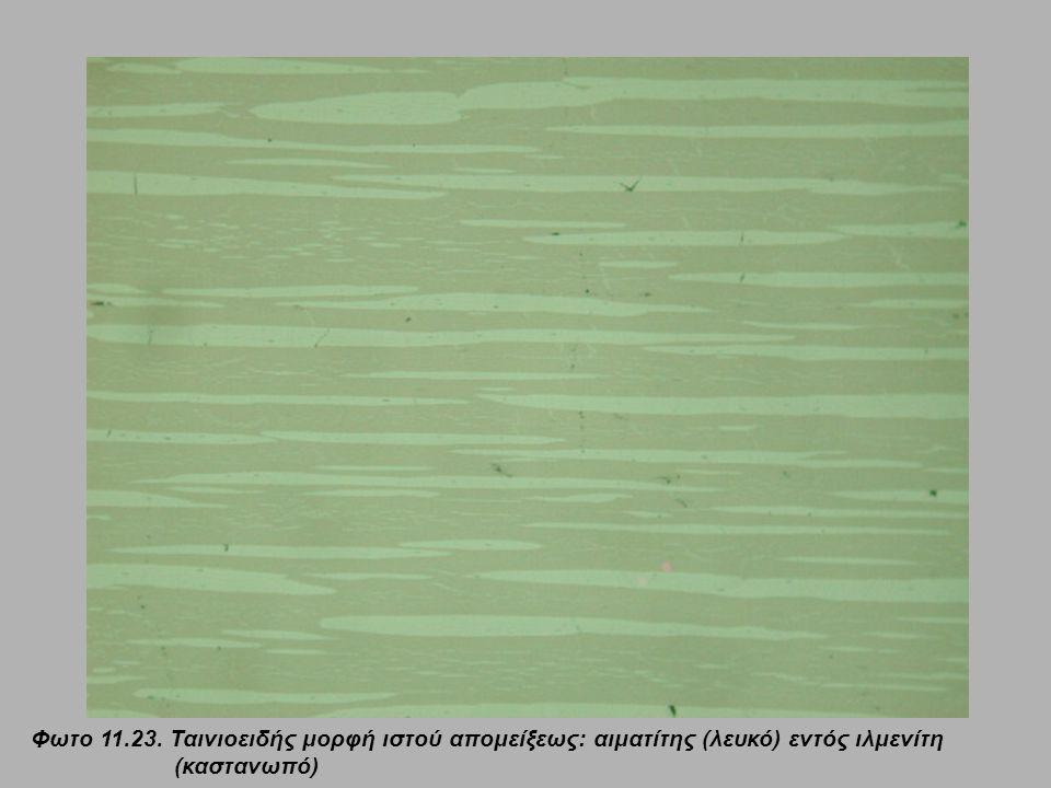Φωτο 11.23. Ταινιοειδής μορφή ιστού απομείξεως: αιματίτης (λευκό) εντός ιλμενίτη (καστανωπό)