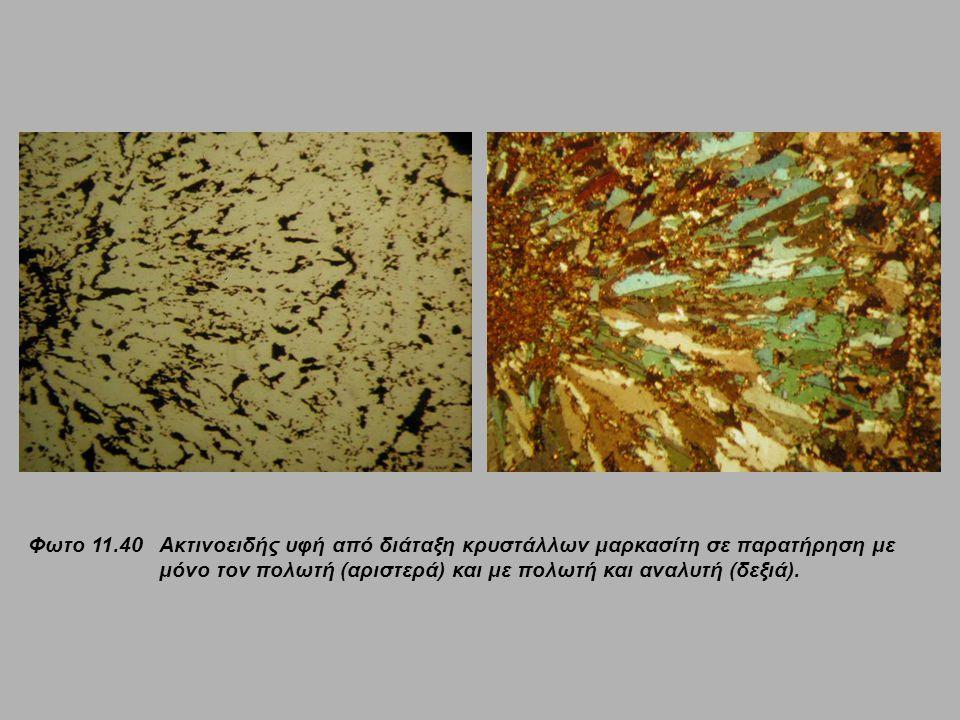 Φωτο 11.40 Ακτινοειδής υφή από διάταξη κρυστάλλων μαρκασίτη σε παρατήρηση με μόνο τον πολωτή (αριστερά) και με πολωτή και αναλυτή (δεξιά).