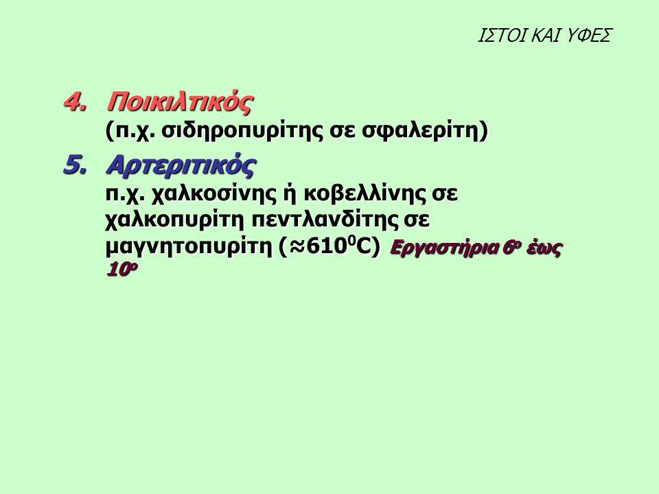 4.Ποικιλτικός (π.χ. σιδηροπυρίτης σε σφαλερίτη) 5.Αρτεριτικός π.χ.