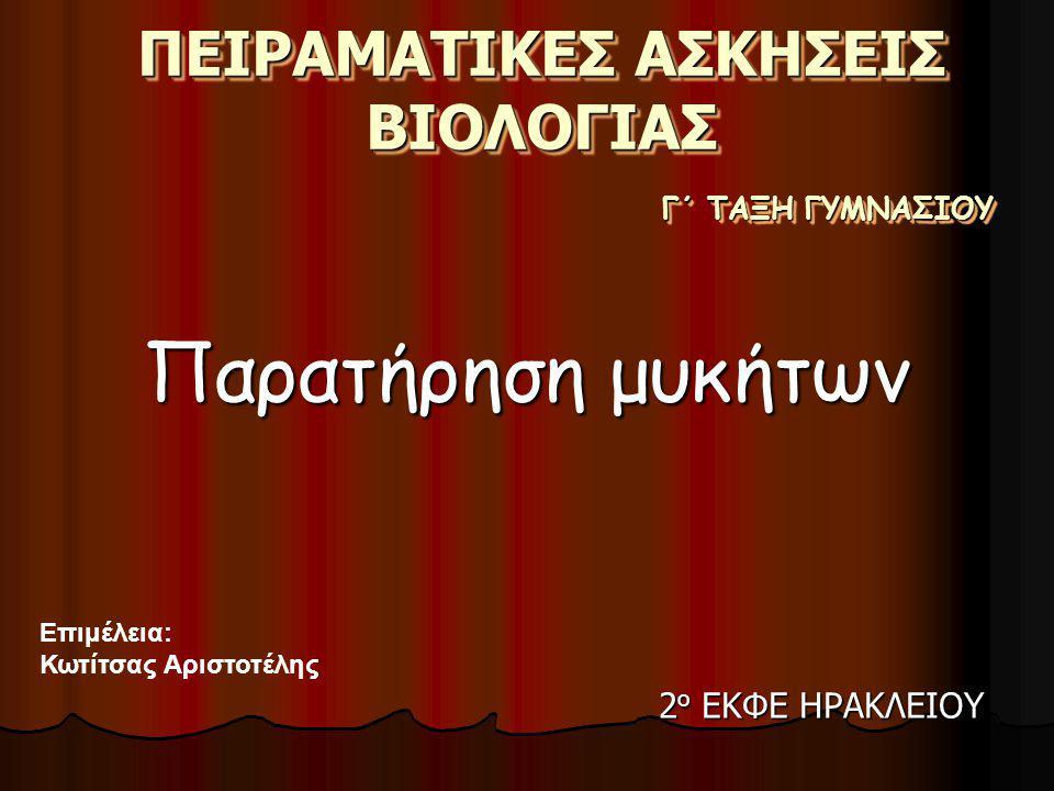 ΠΕΙΡΑΜΑΤΙΚΕΣ ΑΣΚΗΣΕΙΣ ΒΙΟΛΟΓΙΑΣ Παρατήρηση μυκήτων Γ΄ ΤΑΞΗ ΓΥΜΝΑΣΙΟΥ Επιμέλεια: Κωτίτσας Αριστοτέλης 2 ο ΕΚΦΕ ΗΡΑΚΛΕΙΟΥ
