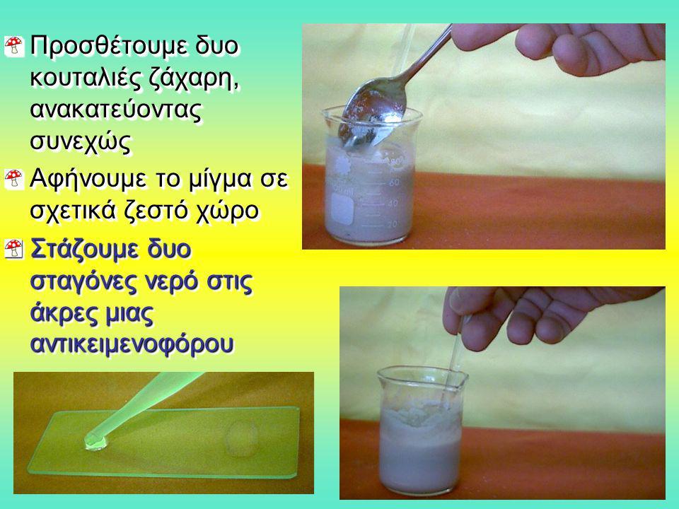 Προσθέτουμε δυο κουταλιές ζάχαρη, ανακατεύοντας συνεχώς Αφήνουμε το μίγμα σε σχετικά ζεστό χώρο Στάζουμε δυο σταγόνες νερό στις άκρες μιας αντικειμενο