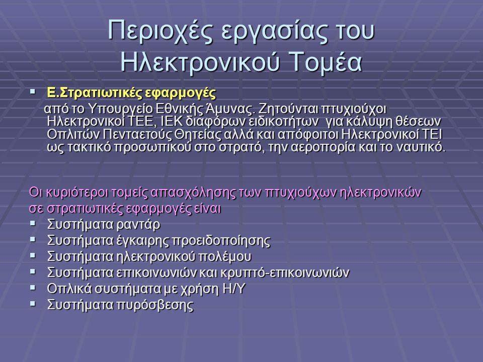 Περιοχές εργασίας του Ηλεκτρονικού Τομέα Δ.Εφαρμογές στην Πολιτική Αεροπορία Ο ηλεκτρονικός εξοπλισμός των αεροσκαφών όπως: ραντάρ, σύστημα ραδιοεπικο