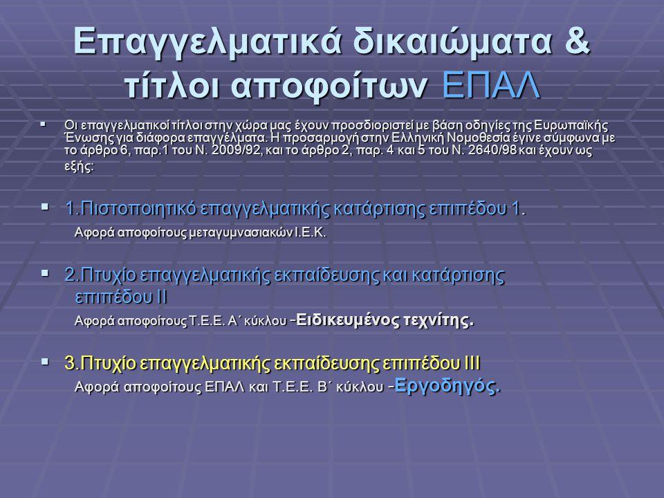 Τομείς και ειδικότητες των ΙΕΚ αντίστοιχες με τις κατευθύνσεις του Ηλεκτρονικού Τομέα των ΕΠΑΛ