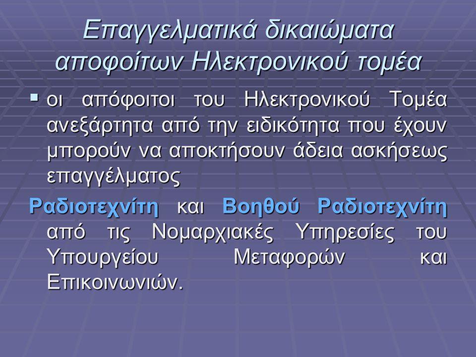Επαγγελματικά δικαιώματα & τίτλοι αποφοίτων ΕΠΑΛ  Οι επαγγελματικοί τίτλοι στην χώρα μας έχουν προσδιοριστεί με βάση οδηγίες της Ευρωπαϊκής Ένωσης γι