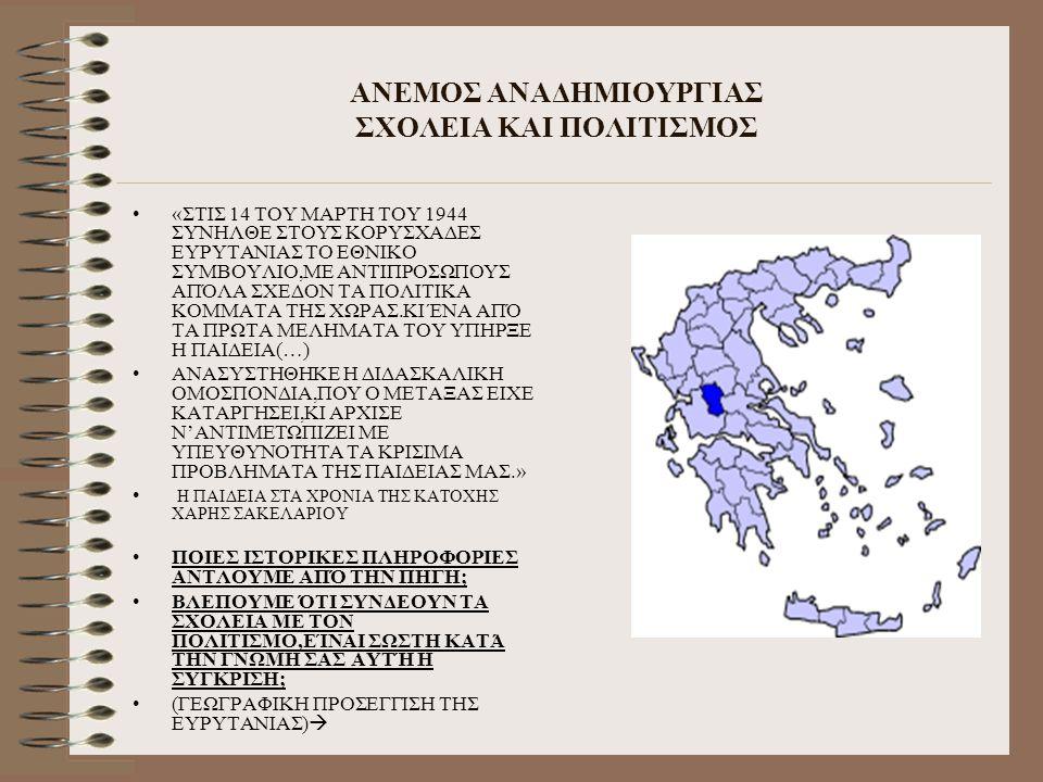 ΑΝΕΜΟΣ ΑΝΑΔΗΜΙΟΥΡΓΙΑΣ ΣΧΟΛΕΙΑ ΚΑΙ ΠΟΛΙΤΙΣΜΟΣ «ΣΤΙΣ 14 ΤΟΥ ΜΑΡΤΗ ΤΟΥ 1944 ΣΥΝΗΛΘΕ ΣΤΟΥΣ ΚΟΡΥΣΧΑΔΕΣ ΕΥΡΥΤΑΝΙΑΣ ΤΟ ΕΘΝΙΚΟ ΣΥΜΒΟΥΛΙΟ,ΜΕ ΑΝΤΙΠΡΟΣΩΠΟΥΣ ΑΠΌΛ