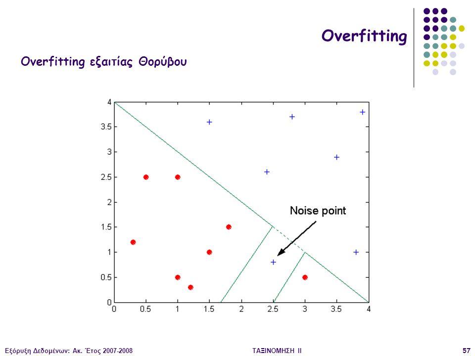 Εξόρυξη Δεδομένων: Ακ. Έτος 2007-2008ΤΑΞΙΝΟΜΗΣΗ ΙΙ57 Overfitting Overfitting εξαιτίας Θορύβου