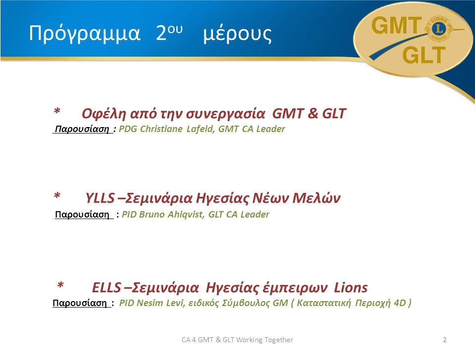 Πρόγραμμα 2 ου μέρους * Οφέλη από την συνεργασία GMT & GLT Παρουσίαση : PDG Christiane Lafeld, GMT CA Leader * YLLS –Σεμινάρια Ηγεσίας Νέων Μελών Παρουσίαση : PID Bruno Ahlqvist, GLT CA Leader * ELLS –Σεμινάρια Ηγεσίας έμπειρων Lions Παρουσίαση : PID Nesim Levi, ειδικός Σύμβουλος GM ( Καταστατική Περιοχή 4D ) 2CA 4 GMT & GLT Working Together