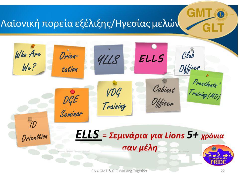 Λαϊονική πορεία εξέλιξης/Ηγεσίας μελών ELLS = Σεμινάρια για Lions 5+ χρόνια σαν μέλη.