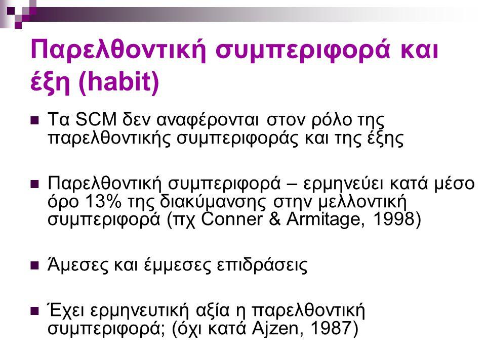 Παρελθοντική συμπεριφορά και έξη (habit) Τα SCM δεν αναφέρονται στον ρόλο της παρελθοντικής συμπεριφοράς και της έξης Παρελθοντική συμπεριφορά – ερμηνεύει κατά μέσο όρο 13% της διακύμανσης στην μελλοντική συμπεριφορά (πχ Conner & Armitage, 1998) Άμεσες και έμμεσες επιδράσεις Έχει ερμηνευτική αξία η παρελθοντική συμπεριφορά; (όχι κατά Ajzen, 1987)