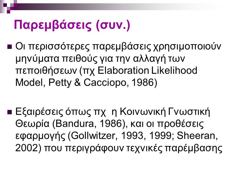 Παρεμβάσεις (συν.) Οι περισσότερες παρεμβάσεις χρησιμοποιούν μηνύματα πειθούς για την αλλαγή των πεποιθήσεων (πχ Elaboration Likelihood Model, Petty & Cacciopo, 1986) Εξαιρέσεις όπως πχ η Κοινωνική Γνωστική Θεωρία (Bandura, 1986), και οι προθέσεις εφαρμογής (Gollwitzer, 1993, 1999; Sheeran, 2002) που περιγράφουν τεχνικές παρέμβασης