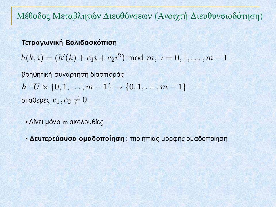 Μέθοδος Μεταβλητών Διευθύνσεων (Ανοιχτή Διευθυνσιοδότηση) Τετραγωνική Βολιδοσκόπιση βοηθητική συνάρτηση διασποράς Δίνει μόνο m ακολουθίες Δευτερεύουσα ομαδοποίηση : πιο ήπιας μορφής ομαδοποίηση σταθερές