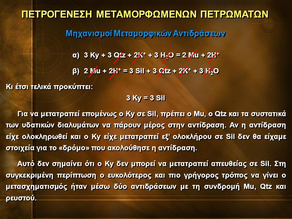 α)3 Ky + 3 Qtz + 2K + + 3 H 2 O = 2 Mu + 2H + β)2 Mu + 2H + = 3 Sil + 3 Qtz + 2K + + 3 H 2 O Κι έτσι τελικά προκύπτει: 3 Ky = 3 Sil Για να μετατραπεί επομένως ο Ky σε Sil, πρέπει ο Mu, ο Qtz και τα συστατικά των υδατικών διαλυμάτων να πάρουν μέρος στην αντίδραση.