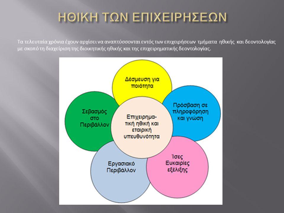 Τα τελευταία χρόνια έχουν αρχίσει να αναπτύσσονται εντός των επιχειρήσεων τμήματα ηθικής και δεοντολογίας με σκοπό τη διαχείριση της διοικητικής ηθική