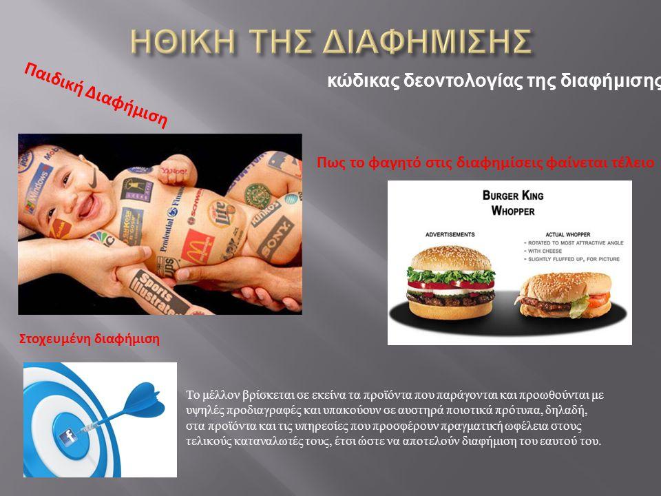 Παιδική Διαφήμιση Πως το φαγητό στις διαφημίσεις φαίνεται τέλειο Στοχευμένη διαφήμιση Το μέλλον βρίσκεται σε εκείνα τα προϊόντα που παράγονται και προ