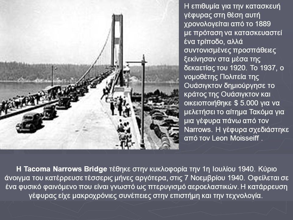 Η Tacoma Narrows Bridge τέθηκε στην κυκλοφορία την 1η Ιουλίου 1940. Κύριο άνοιγμα του κατέρρευσε τέσσερις μήνες αργότερα, στις 7 Νοεμβρίου 1940. Οφείλ