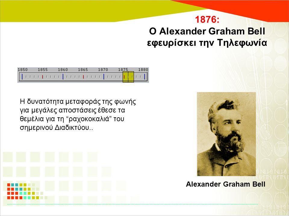 """1876: Ο Alexander Graham Bell εφευρίσκει την Τηλεφωνία Η δυνατότητα μεταφοράς της φωνής για μεγάλες αποστάσεις έθεσε τα θεμέλια για τη """"ραχοκοκαλιά"""" τ"""