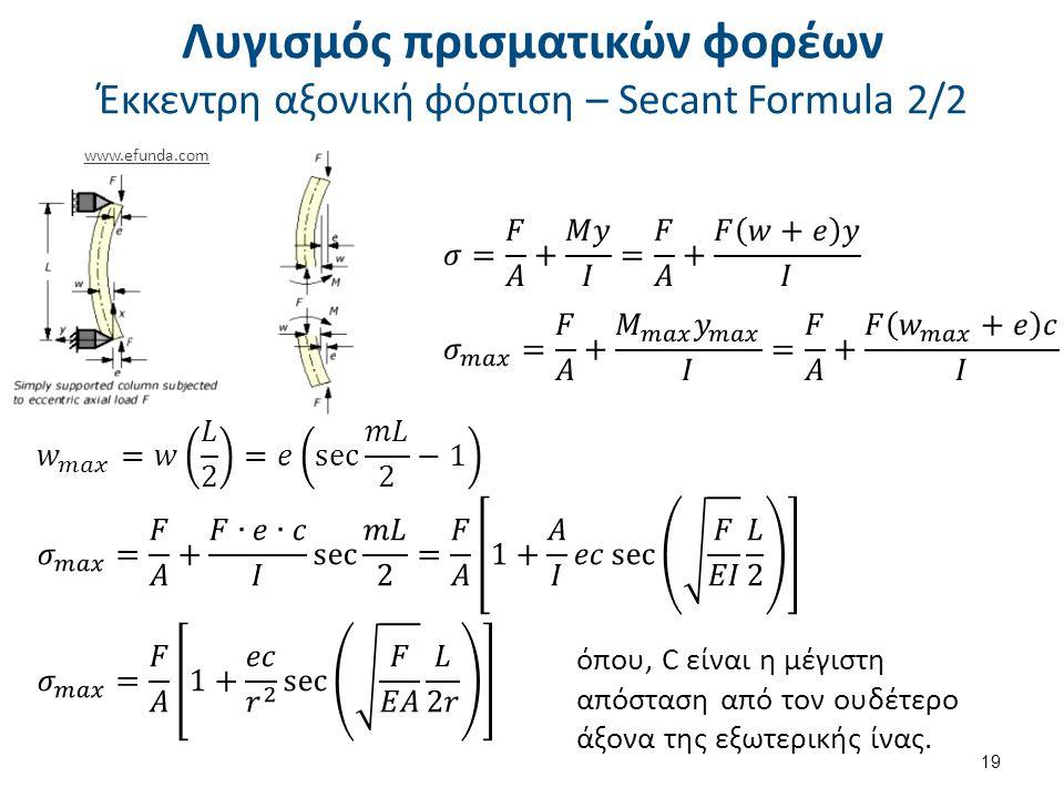 όπου, C είναι η μέγιστη απόσταση από τον ουδέτερο άξονα της εξωτερικής ίνας. 19 Λυγισμός πρισματικών φορέων Έκκεντρη αξονική φόρτιση – Secant Formula