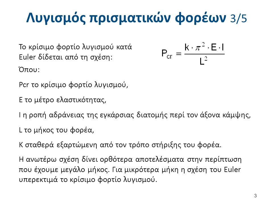 Λυγισμός πρισματικών φορέων 3/5 Το κρίσιμο φορτίο λυγισμού κατά Euler δίδεται από τη σχέση: Όπου: Pcr το κρίσιμο φορτίο λυγισμού, Ε το μέτρο ελαστικότ