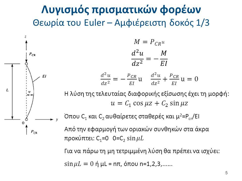 Για τον υπολογισμό της κρίσιμης τάσης λυγισμού χρησιμοποιείται η σχέση του Johnson: Όταν: Όπου Α η επιφάνεια της διατομής, L e το ισοδύναμο μήκος του φορέα και P cr το κρίσιμο φορτίο λυγισμού.