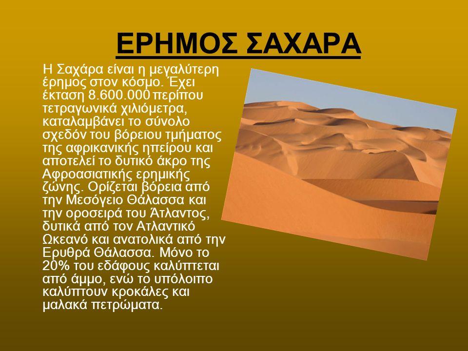 ΕΡΗΜΟΣ ΣΑΧΑΡΑ Η Σαχάρα είναι η μεγαλύτερη έρημος στον κόσμο. Έχει έκταση 8.600.000 περίπου τετραγωνικά χιλιόμετρα, καταλαμβάνει το σύνολο σχεδόν του β