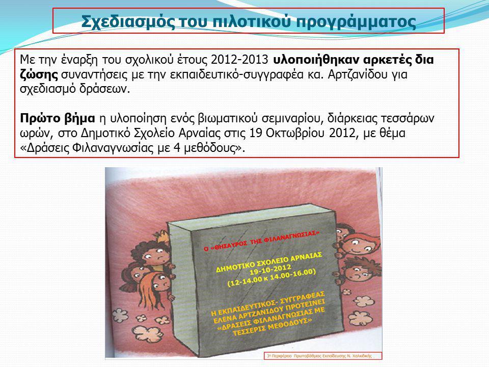 Συνέχιση του προγράμματος σε όλα τα σχολεία Ένταξη της φιλαναγνωσίας στο ωρολόγιο πρόγραμμα όλων των τύπων σχολείων Ενίσχυση των επιμορφωτικών δράσεων ανά Διεύθυνση Εκπαίδευσης Παροχή παιδικών βιβλίων από επίσημους φορείς στα σχολεία Δημιουργία ηλεκτρονικών αποθετηρίων βιβλίων Παρουσίαση Φιλαναγνωστικών δράσεων ανά Περιφέρεια Ετήσια διοργάνωση Φιλαναγνωστικών ημερίδων ανά Διεύθυνση ή Περιφέρεια Εκπαίδευσης Ηλεκτρονικό αποθετήριο Φιλαναγνωστικών δράσεων στο διαδίκτυο Ίδρυση γραφείου Φιλαναγνωσίας ανά Διεύθυνση ή Περιφέρεια Εκπαίδευσης.