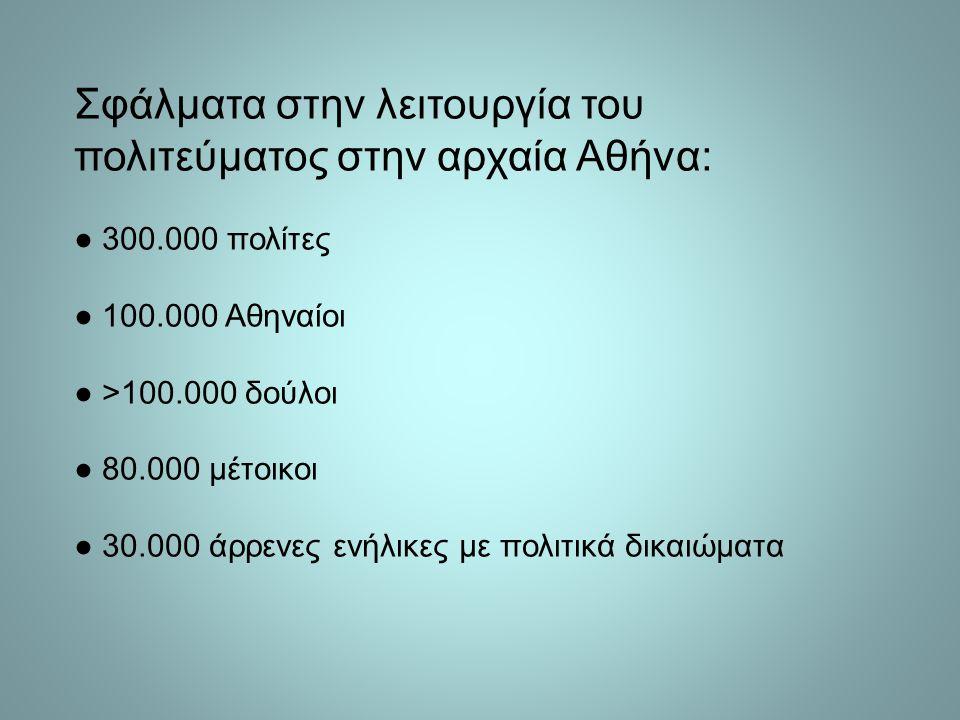 Σφάλματα στην λειτουργία του πολιτεύματος στην αρχαία Αθήνα: ● 300.000 πολίτες ● 100.000 Αθηναίοι ● >100.000 δούλοι ● 80.000 μέτοικοι ● 30.000 άρρενες ενήλικες με πολιτικά δικαιώματα