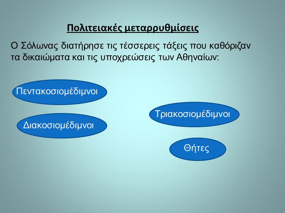 Ο Σόλωνας διατήρησε τις τέσσερεις τάξεις που καθόριζαν τα δικαιώματα και τις υποχρεώσεις των Αθηναίων: Πεντακοσιομέδιμνοι Τριακοσιομέδιμνοι Διακοσιομέδιμνοι Θήτες Πολιτειακές μεταρρυθμίσεις