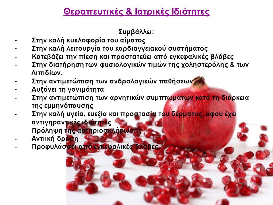 Θεραπευτικές & Ιατρικές Ιδιότητες Συμβάλλει: - Στην καλή κυκλοφορία του αίματος - Στην καλή λειτουργία του καρδιαγγειακού συστήματος - Κατεβάζει την π