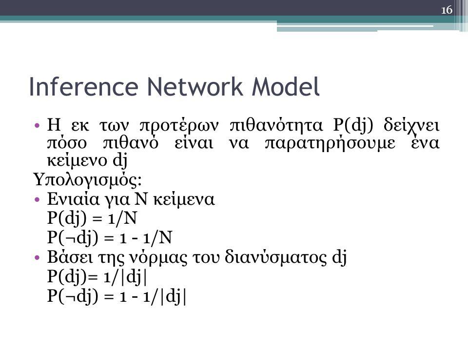 16 Inference Network Model Η εκ των προτέρων πιθανότητα P(dj) δείχνει πόσο πιθανό είναι να παρατηρήσουμε ένα κείμενο dj Υπολογισμός: Ενιαία για N κείμενα P(dj) = 1/N P(¬dj) = 1 - 1/N Βάσει της νόρμας του διανύσματος dj P(dj)= 1/|dj| P(¬dj) = 1 - 1/|dj|