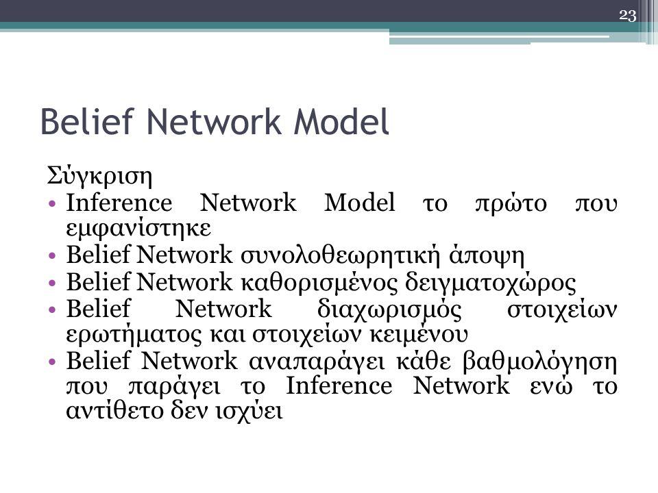 23 Belief Network Model Σύγκριση Inference Network Model το πρώτο που εμφανίστηκε Belief Network συνολοθεωρητική άποψη Belief Network καθορισμένος δειγματοχώρος Belief Network διαχωρισμός στοιχείων ερωτήματος και στοιχείων κειμένου Belief Network αναπαράγει κάθε βαθμολόγηση που παράγει το Inference Network ενώ το αντίθετο δεν ισχύει