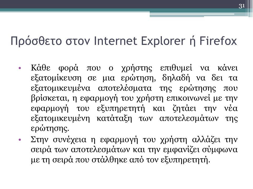 31 Πρόσθετο στον Internet Explorer ή Firefox Κάθε φορά που ο χρήστης επιθυμεί να κάνει εξατομίκευση σε μια ερώτηση, δηλαδή να δει τα εξατομικευμένα αποτελέσματα της ερώτησης που βρίσκεται, η εφαρμογή του χρήστη επικοινωνεί με την εφαρμογή του εξυπηρετητή και ζητάει την νέα εξατομικευμένη κατάταξη των αποτελεσμάτων της ερώτησης.