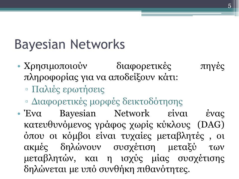 5 Bayesian Networks Χρησιμοποιούν διαφορετικές πηγές πληροφορίας για να αποδείξουν κάτι: ▫Παλιές ερωτήσεις ▫Διαφορετικές μορφές δεικτοδότησης Ένα Bayesian Network είναι ένας κατευθυνόμενος γράφος χωρίς κύκλους (DAG) όπου οι κόμβοι είναι τυχαίες μεταβλητές, οι ακμές δηλώνουν συσχέτιση μεταξύ των μεταβλητών, και η ισχύς μίας συσχέτισης δηλώνεται με υπό συνθήκη πιθανότητες.