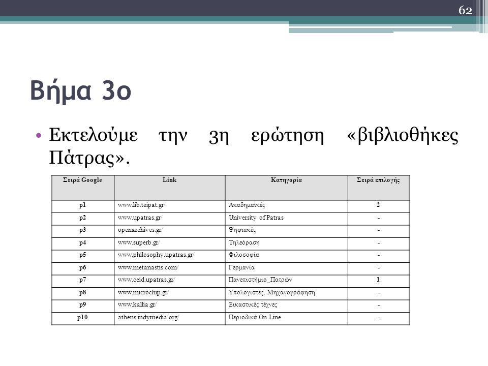 Βήμα 3ο Εκτελούμε την 3η ερώτηση «βιβλιοθήκες Πάτρας». 62 Σειρά GoogleLinkΚατηγορίαΣειρά επιλογής p1www.lib.teipat.gr/Ακαδημαϊκές2 p2www.upatras.gr/Un