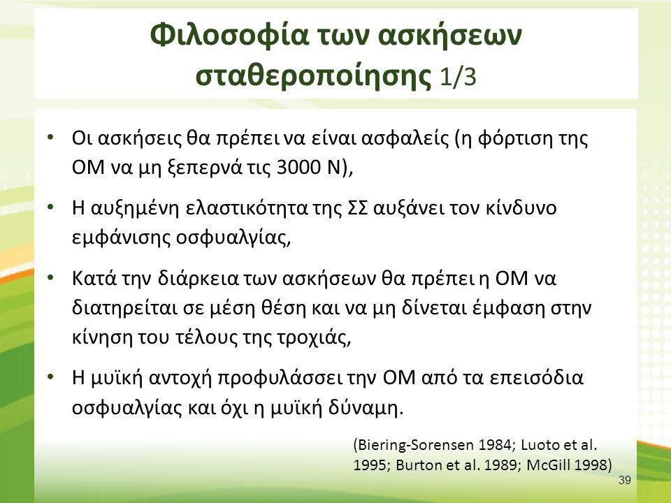 Φιλοσοφία των ασκήσεων σταθεροποίησης 1/3 Οι ασκήσεις θα πρέπει να είναι ασφαλείς (η φόρτιση της ΟΜ να μη ξεπερνά τις 3000 Ν), Η αυξημένη ελαστικότητα