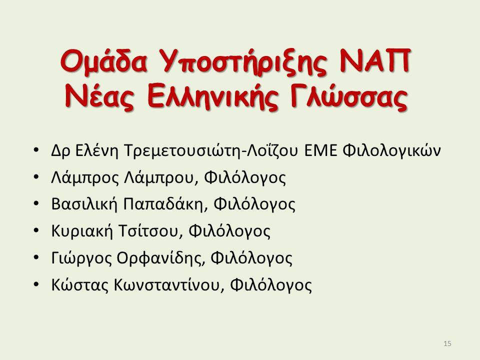 Ομάδα Υποστήριξης ΝΑΠ Νέας Ελληνικής Γλώσσας Δρ Ελένη Τρεμετουσιώτη-Λοΐζου ΕΜΕ Φιλολογικών Λάμπρος Λάμπρου, Φιλόλογος Βασιλική Παπαδάκη, Φιλόλογος Κυρ