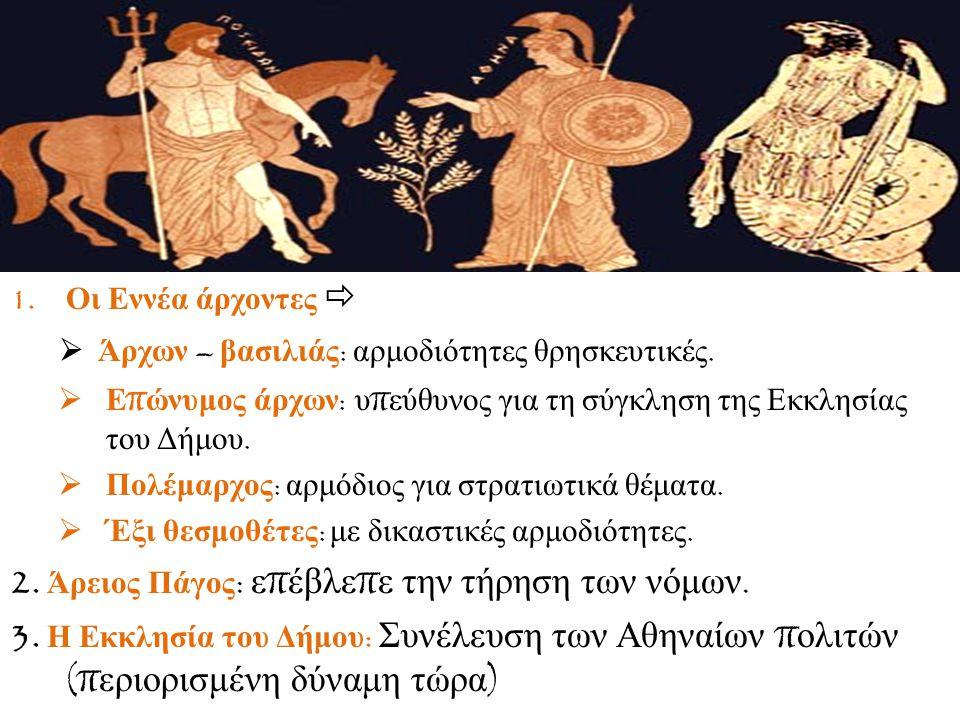 1.Οι Εννέα άρχοντες   Άρχων – βασιλιάς : αρμοδιότητες θρησκευτικές.