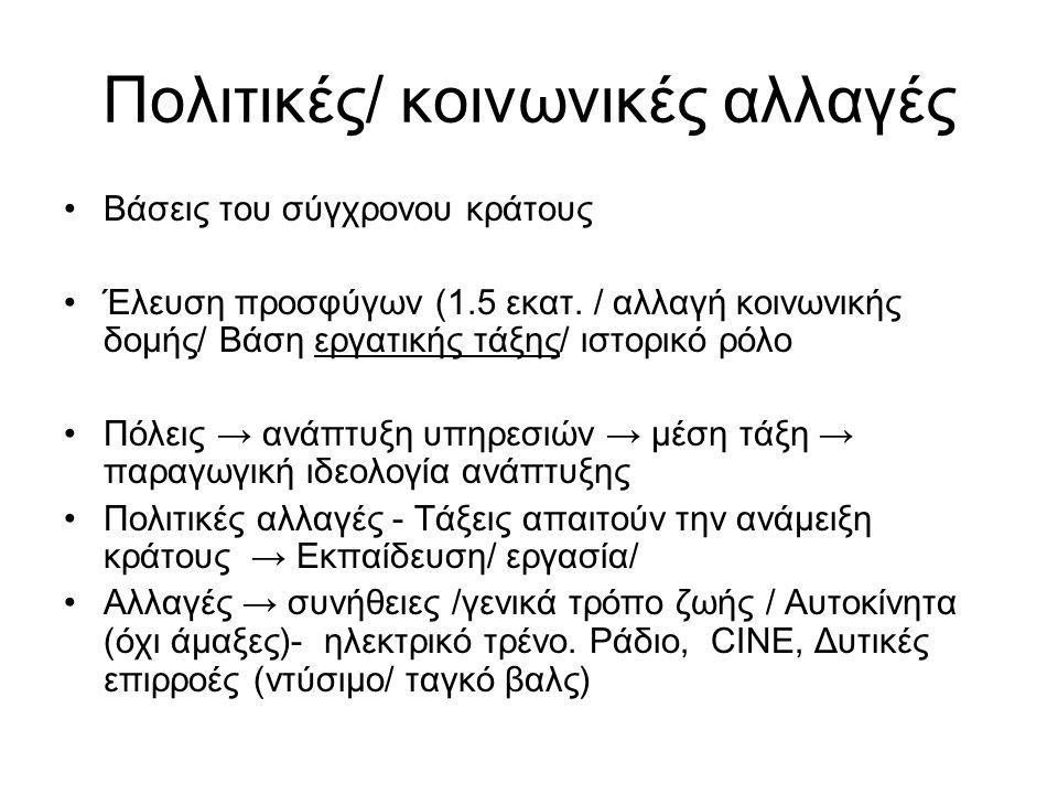 Οικογένεια/Κράτος/Θρησκεία πατριαρχική δομή/ ♀ εξαρτημένη Αλλαγές → συνήθειες /γενικά τρόπο ζωής / Αυτοκίνητα (όχι άμαξες)- ηλεκτρικό τρένο.
