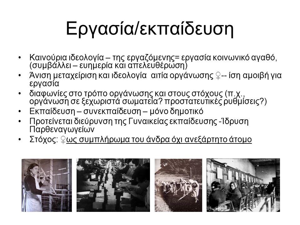 Εργασία/εκπαίδευση Καινούρια ιδεολογία – της εργαζόμενης= εργασία κοινωνικό αγαθό, (συμβάλλει – ευημερία και απελευθέρωση) Άνιση μεταχείριση και ιδεολογία αιτία οργάνωσης ♀-- ίση αμοιβή για εργασία διαφωνίες στο τρόπο οργάνωσης και στους στόχους (π.χ., οργάνωση σε ξεχωριστά σωματεία.
