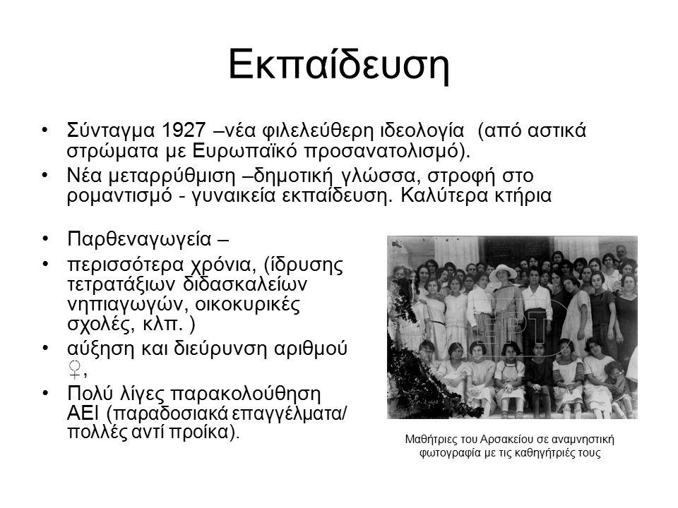 Εκπαίδευση Σύνταγμα 1927 –νέα φιλελεύθερη ιδεολογία (από αστικά στρώματα με Ευρωπαϊκό προσανατολισμό). Νέα μεταρρύθμιση –δημοτική γλώσσα, στροφή στο ρ